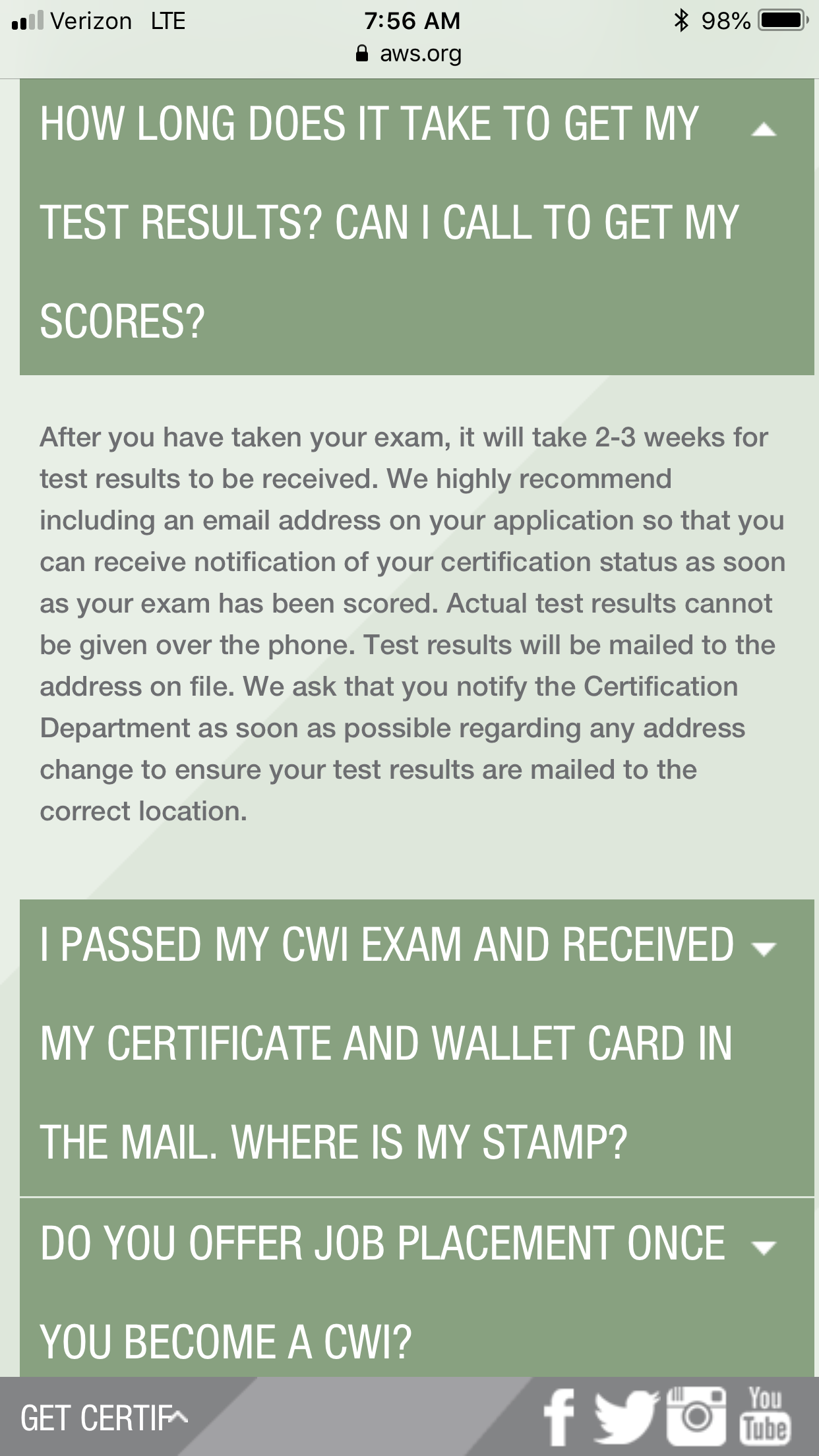 Cwi Test Results